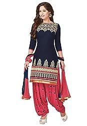 Women's Cotton Patiyala Suit Dress Material(navy Blue & Rose Pink)