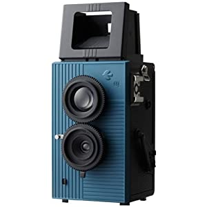 Blackbird Fly 35mm TLR Twin Lens Reflex Camera - Black with Blue Face [Camera]