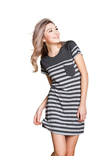Suntasty Women's Nightgown Cotton Sleep Shirt Striped Robes Nightwear