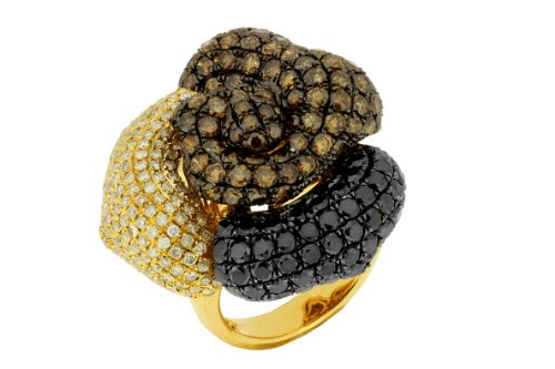 Ladies White, Black & Champagne Diamond Ring
