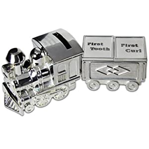 Personalized Engraved Train Money Bank Block and Tooth and Curl Trinket Box- Free engraved message