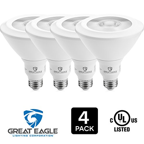 Great Eagle PAR38 LED Bulb, 18W (120W equivalent), 4000K (Cool White), 40° Beam Angle Flood Light Bulb, Dimmable, and UL-Listed. Use with Recessed Housings and Track Light Fixtures (4-pack) (120 Watt Flood Bulb compare prices)
