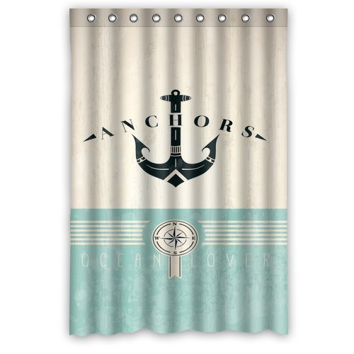 "Fashion Nautical Anchor Waterproof Bathroom Fabric Shower Curtain,Bathroom Decor 48"" X 72"" back-587830"