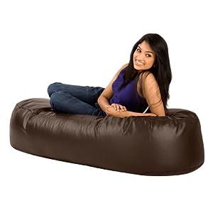 XXL Bean Bag Sofa - Oslo 5ft Lounger BROWN Faux Leather Bean Bags
