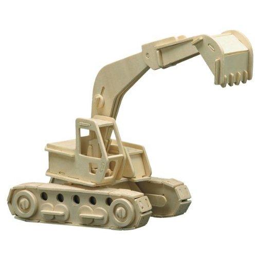 Holz Bausatz Bagger 125-tlg. 30x26 cm Steckbausatz f. Kinder Holzbausatz