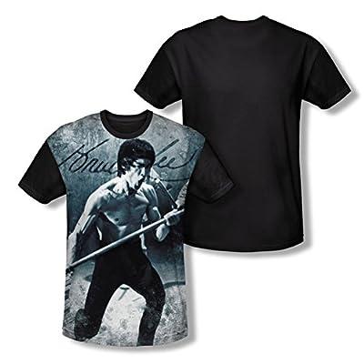 Bruce Lee Whoooaa All Over Print Black Back T-Shirt