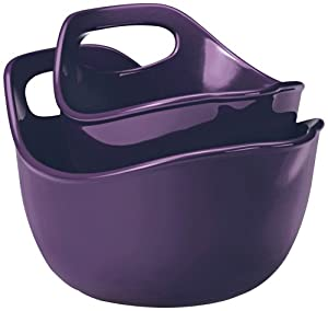 Rachael Ray Stoneware Serving and Mixing Bowl Set, 1-Quart and 2-Quart, Purple