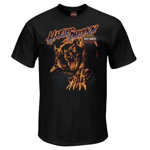 Harley-Davidson Mens Roadkiller Flaming Bear Black Short Sleeve T-Shirt (X-Large)