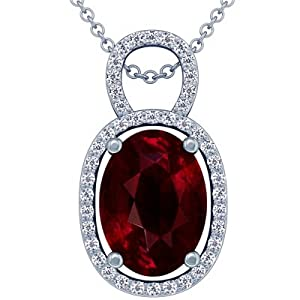 Platinum Oval Cut Ruby And Round Diamond Pendant