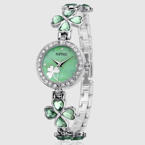 Ufingo-Korean Fashion Clover Rhinestone Casual Quartz Bracelet Watch For Women/Ladies/Girls-Green
