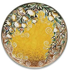 Handmade Toscana Round Platter With Olives