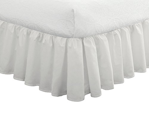 Big Save! Fresh Ideas Bedding Ruffled Bedskirt, Classic 14″ drop length, Gathered Styling, Twin, White