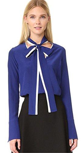 Self con collo a fiocco colletto a contrasto sul bordo Color Block Pull On Blusa Camicetta Camicia Superiore Cima Top blu M