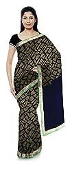 Priyam Sarees Women's Georgette Saree (Blue & Light Green)