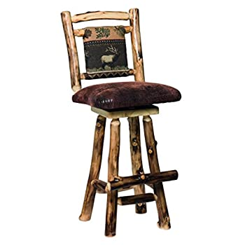 "Aspen Log Swivel 24"" Barstools with Fabric Back - Set of 2 - Erie Fabric"