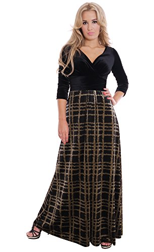 Glam Evening Concert Dress Velvet Black Gold UK Design Plus Size By MontyQ