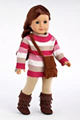 Fun Loving Girl - Colorful turtle neck with beige stretchy leggings, brown purse and brown sherpa boots - 18 Inch Doll Clothes