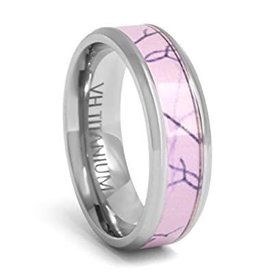 Viable Harvest - Pink Camo Ring Band - 6mm Titanium