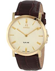 Roamer of Switzerland Men's 937830 48 35 09 Slim Line Gold PVD Brown Leather Watch