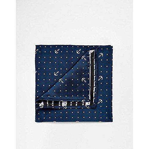 (エイソス) ASOS メンズ アクセサリー ハンカチ Pocket Square With Polka Dot Anchor Print Navy OneSize [並行輸入品]