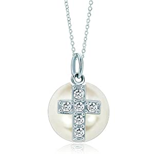 Pugster Silver Clear White Pearl Diamond Cross Link Charm Charms Bracelet & Pendant Necklace
