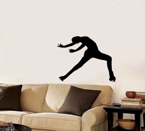 Housewares Wall Vinyl Decal Sport Figure Skating Girl Skating on Ice Sportswoman Home Art Decor Kids Nursery Removable Stylish Sticker Mural Unique Design for Any Room