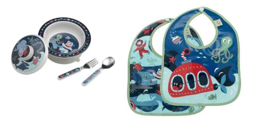 Sugarbooger Covered Bowl, Silverware, and 2 Bibs Set-Under the Sea