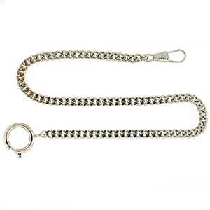 Pocket Watch Chain Fob Curb Link Design Silver-Tone 14