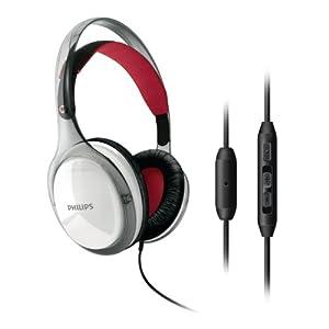 Philips SHH9560/10 Casque à arceau avec Microphone Télécommande intégrée Blanc et Rouge