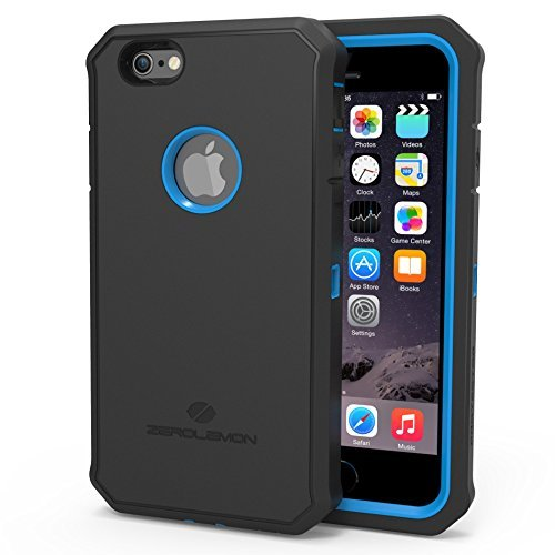 Zerolemon Apple iPhone 6, 4.7 inch Protector Series Rugged Blue / Black Hybrid Protection Case, Includes Free High Quality Screen Protector And Belt Clip Holster Ultimate Protection Form Fitting