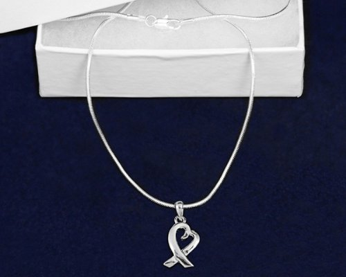 Silver Ribbon Necklace- Heart Ribbon Necklace (18 Necklaces)