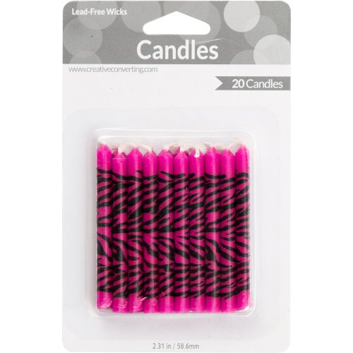 Creative Converting 20 Count Super Stylish Zebra Print Candles, Pink - 1