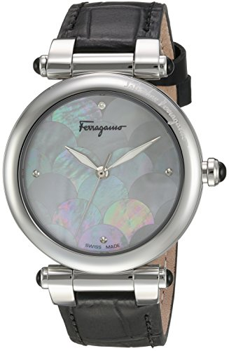 Salvatore-Ferragamo-Womens-IDILLIO-Quartz-Stainless-Steel-and-Leather-Casual-Watch-ColorBlack-Model-FCH010016