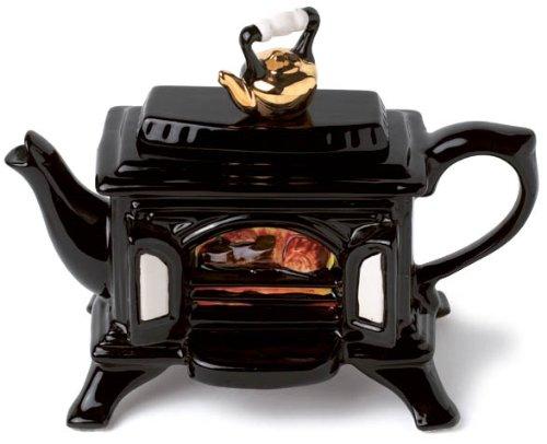 The Teapottery - Tetera de 1 taza (cer�mica), dise�o de estufa de le�a, color negro