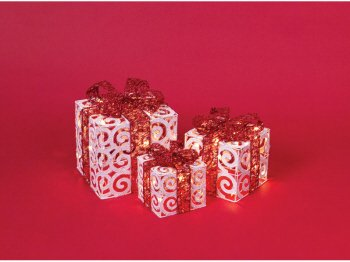 6 Mod Holiday White/Red Lighted Christmas Gift