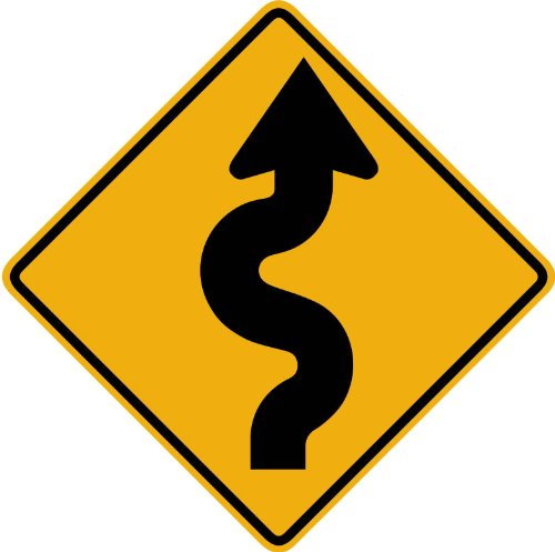 Street & Traffic Sign Wall Decals - Winding Road to the Left Sign - 12 inch Removable Graphic