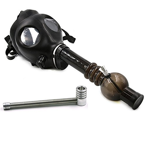 Kosoul-Van-17-Inch-Length-Acrylic-Skull-Gas-Mask-Tobacco-Hookah-Shisha-Straight-Hose-Pipe-with-a-Spring-PipeBlack
