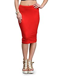 MySin Red Viscose Solid Tube Skirt