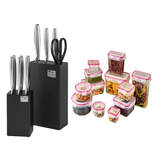 Premier 12 Piece Dual Block Cutlery Set comes with 24 Pieces Lock & Seal Foods Storage Container