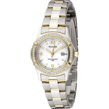 Accurist Ladies Quartz Watch With Mother Of Pearl Dial Analogue Display And Stainless Steel Plated Bracelet LB1541P