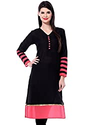 Clickedia Women's Faux Georgette Semi-Stitched Kurti (12_Black)