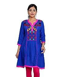 JPF Kurtis Women's Cotton Straight Kurtas(D-01246_XL_Blue, Blue, XL)