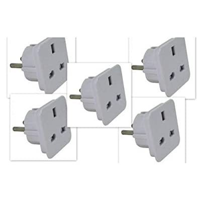 Pack of 5 - UK to EU Travel Adaptors from ""