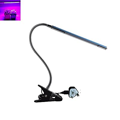 Snkey LED Grow Light, 5W Adjustable 3 Level Dimmable, LED Clip Desk Lamp Clamp, Flexible Neck 360 Degree For Hydroponic Garden Greenhouse with UK Adapter