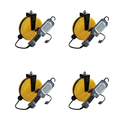 Case Of 4 Led Cord Reel Shop Garage Work Light 500 Lumens 30Ft 16/3 Sjt Cord 5030Ah