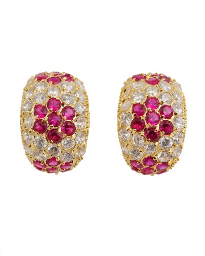 Cubic Zirconia Ruby Flower Earrings