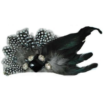 Feather Brooch- Black White Brooch Pin Hair Clip Accessory with Gems