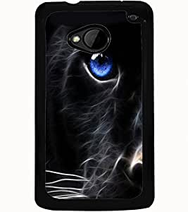 ColourCraft Cat Look Design Back Case Cover for HTC ONE M7