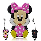 I-need 3d Cartoon Mouse Soft Silicone Case Cover with 3d Anti-plus Minnie Pen for Iphone 4g 4s -Hot Pink Reviews
