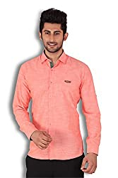 KIvon Men's Orange Plain Casual Shirt